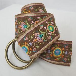 Boho Embroidered Swedish Floral Style Waist Belt